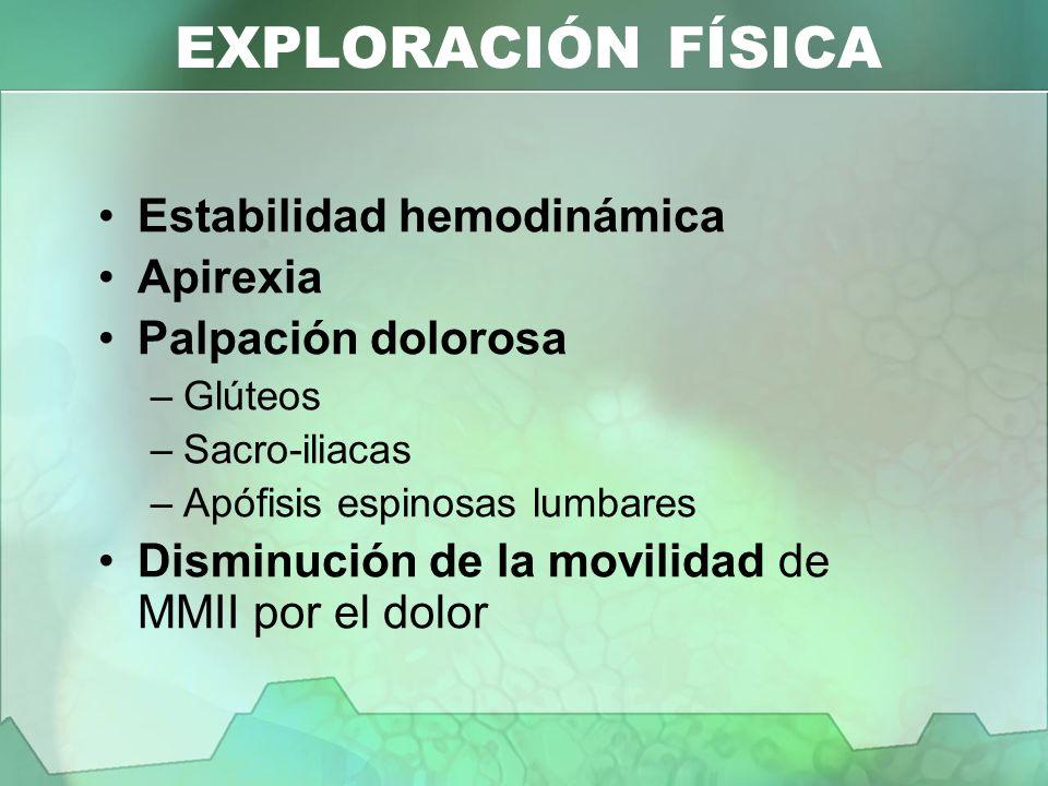 Estabilidad hemodinámica Apirexia Palpación dolorosa –Glúteos –Sacro-iliacas –Apófisis espinosas lumbares Disminución de la movilidad de MMII por el d