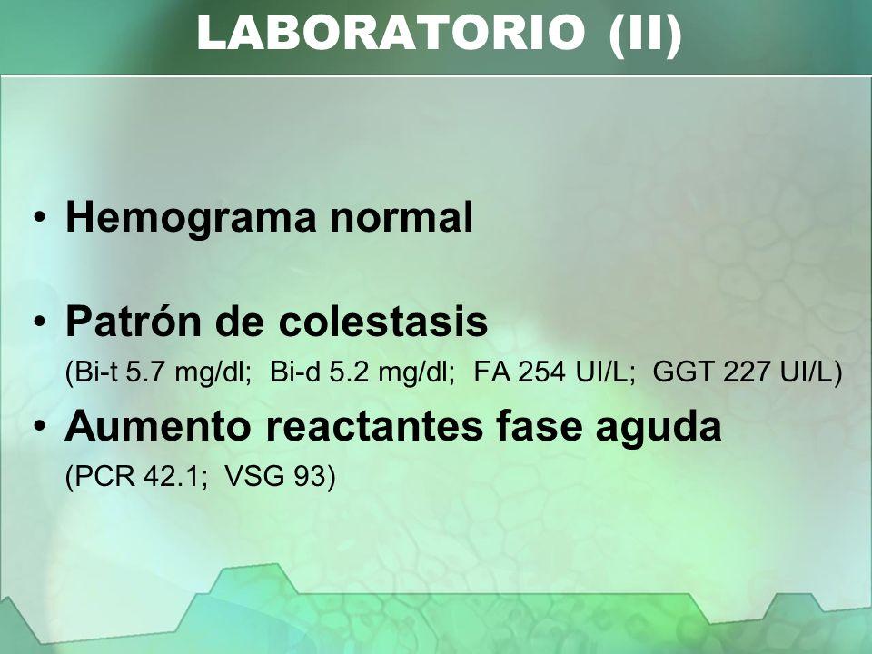 Hemograma normal Patrón de colestasis (Bi-t 5.7 mg/dl; Bi-d 5.2 mg/dl; FA 254 UI/L; GGT 227 UI/L) Aumento reactantes fase aguda (PCR 42.1; VSG 93) LAB