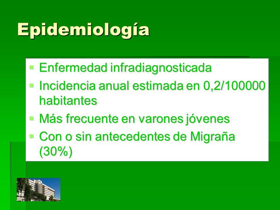 Epidemiología Enfermedad infradiagnosticada Enfermedad infradiagnosticada Incidencia anual estimada en 0,2/100000 habitantes Incidencia anual estimada