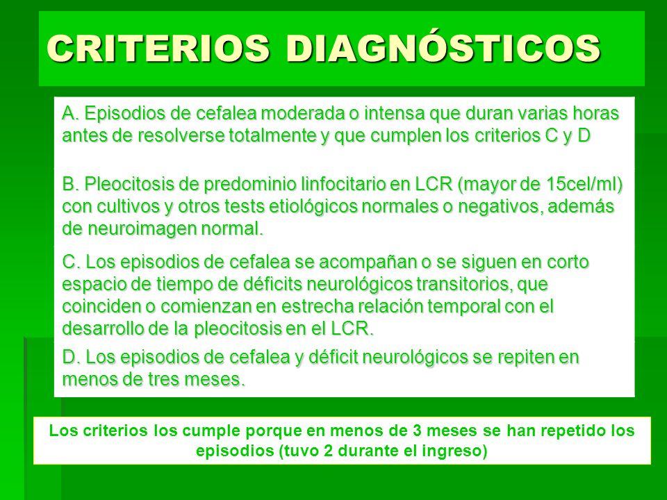 CRITERIOS DIAGNÓSTICOS A. Episodios de cefalea moderada o intensa que duran varias horas antes de resolverse totalmente y que cumplen los criterios C