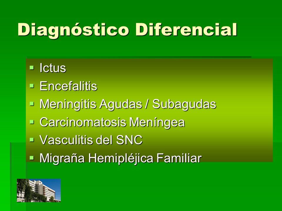 Diagnóstico Diferencial Ictus Ictus Encefalitis Encefalitis Meningitis Agudas / Subagudas Meningitis Agudas / Subagudas Carcinomatosis Meníngea Carcin