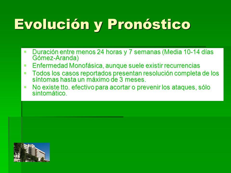 Evolución y Pronóstico Duración entre menos 24 horas y 7 semanas (Media 10-14 días Gómez-Aranda) Duración entre menos 24 horas y 7 semanas (Media 10-1