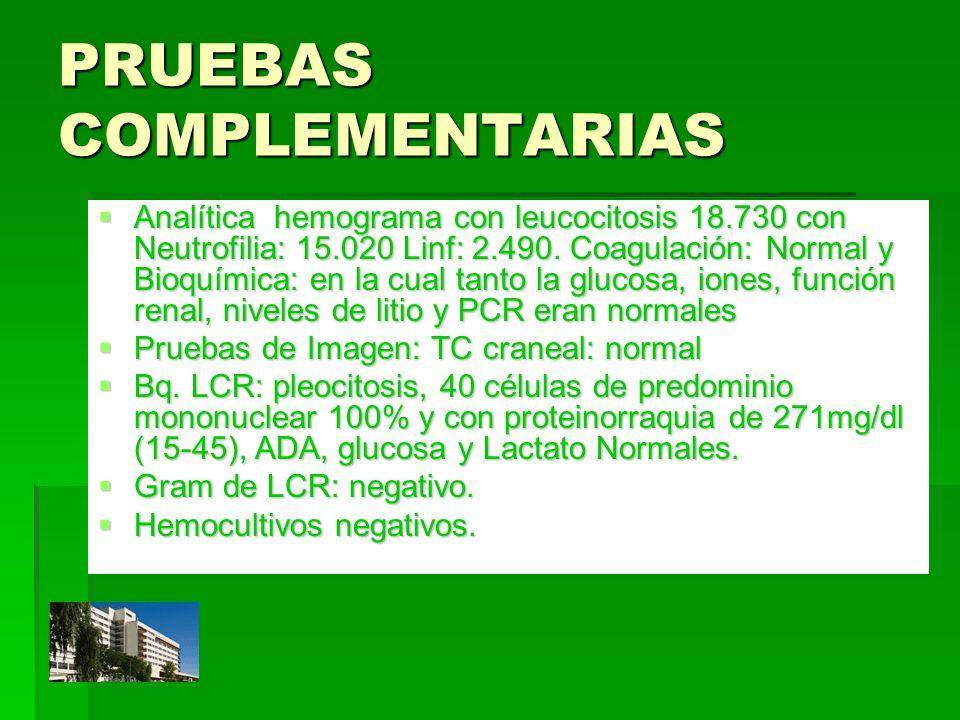 PRUEBAS COMPLEMENTARIAS Analítica hemograma con leucocitosis 18.730 con Neutrofilia: 15.020 Linf: 2.490. Coagulación: Normal y Bioquímica: en la cual
