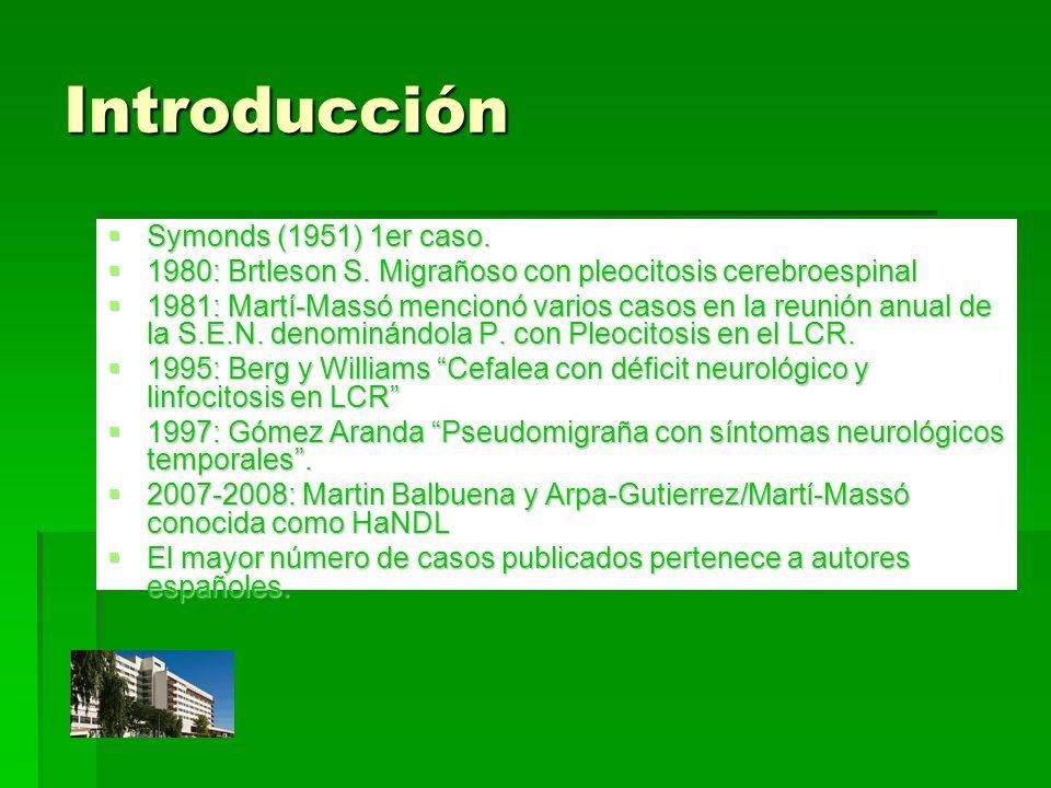 Introducción Symonds (1951) 1er caso. Symonds (1951) 1er caso. 1980: Brtleson S. Migrañoso con pleocitosis cerebroespinal 1980: Brtleson S. Migrañoso