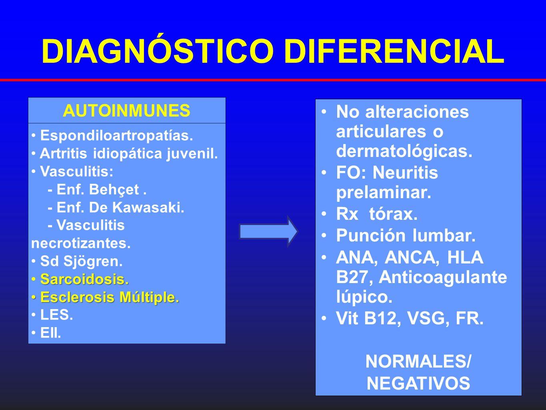 DIAGNÓSTICO DIFERENCIAL No alteraciones articulares o dermatológicas. FO: Neuritis prelaminar. Rx tórax. Punción lumbar. ANA, ANCA, HLA B27, Anticoagu