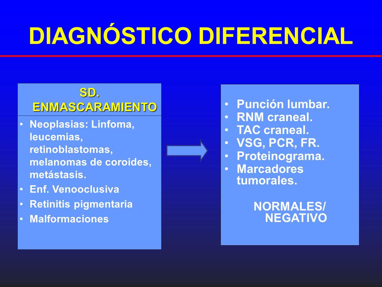 DIAGNÓSTICO DIFERENCIAL Punción lumbar. RNM craneal. TAC craneal. VSG, PCR, FR. Proteinograma. Marcadores tumorales. NORMALES/ NEGATIVO SD. ENMASCARAM