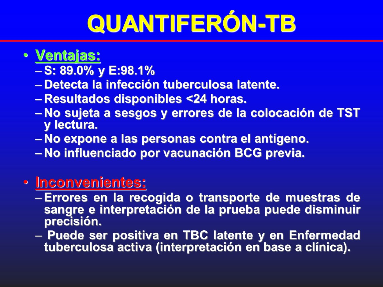 QUANTIFERÓN-TB Ventajas:Ventajas: –S: 89.0% y E:98.1% –Detecta la infección tuberculosa latente. –Resultados disponibles <24 horas. –No sujeta a sesgo