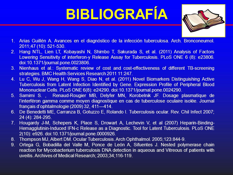 BlBLIOGRAFÍA 1.Arias Guillén A. Avances en el diagnóstico de la infección tuberculosa. Arch. Bronconeumol. 2011;47 (10): 521-530. 2.Hang NTL, Lien LT,