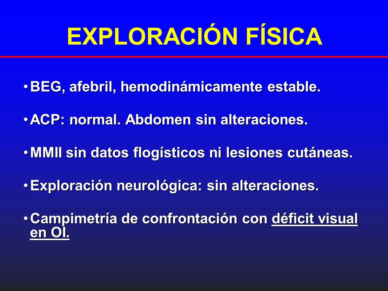 EVOLUCIÓN Revisión oftalmológica (a las 48 h del ingreso):Revisión oftalmológica (a las 48 h del ingreso): - OD: Aparición de lesiones nodulares sin afectar mácula (AV: 0.6) - OI: Mismo aspecto clínico anterior (AV: 0.1).