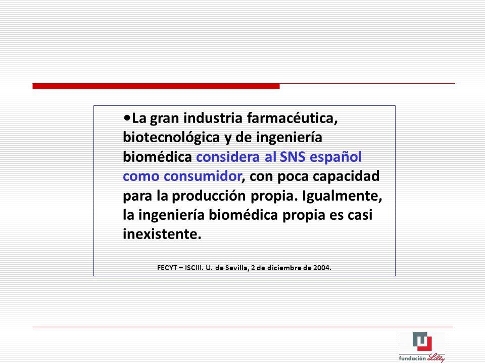 La gran industria farmacéutica, biotecnológica y de ingeniería biomédica considera al SNS español como consumidor, con poca capacidad para la producci