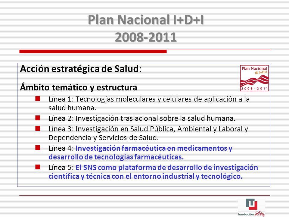 Acción estratégica de Salud: Ámbito temático y estructura Línea 1: Tecnologías moleculares y celulares de aplicación a la salud humana. Línea 2: Inves
