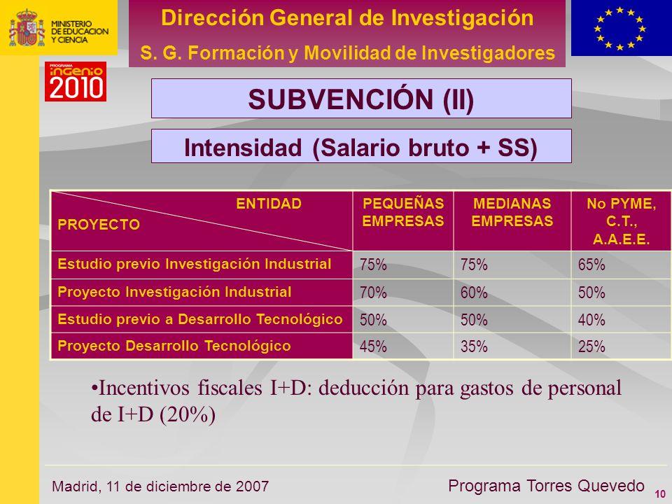 10 Dirección General de Investigación S. G. Formación y Movilidad de Investigadores Programa Torres Quevedo Madrid, 11 de diciembre de 2007 SUBVENCIÓN