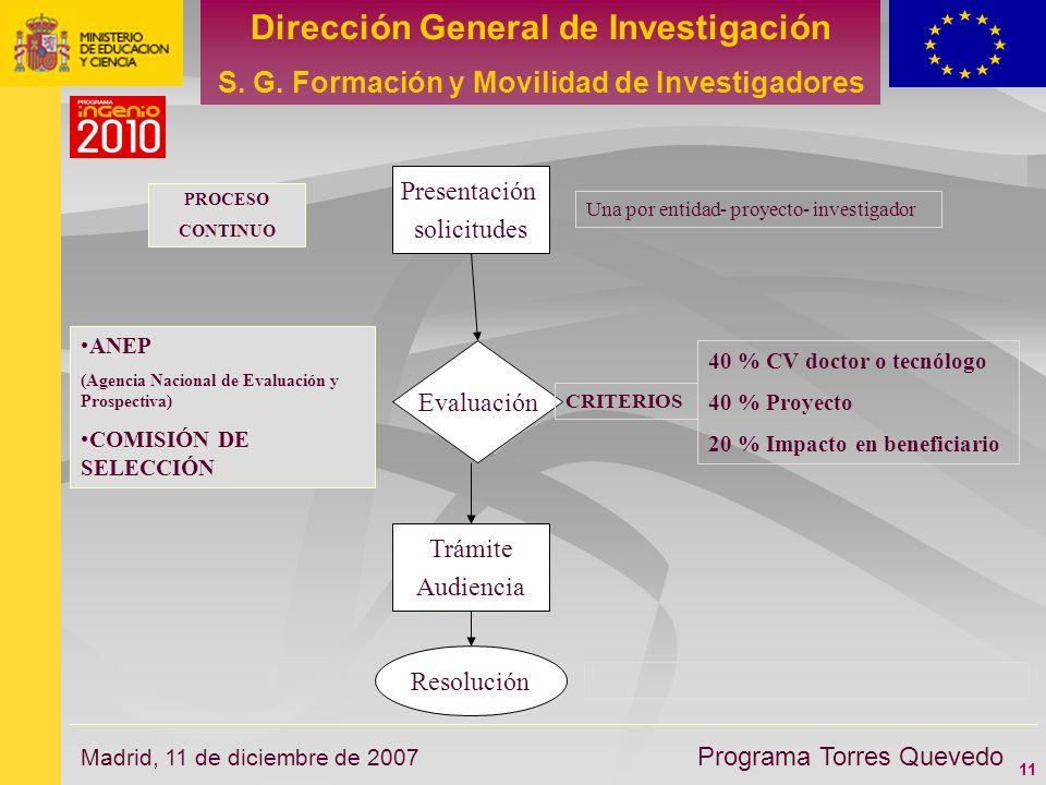 11 Dirección General de Investigación S. G. Formación y Movilidad de Investigadores Programa Torres Quevedo Madrid, 11 de diciembre de 2007 Trámite Au