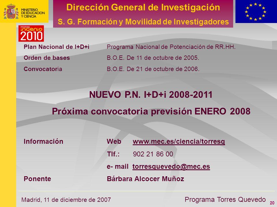 20 Dirección General de Investigación S. G. Formación y Movilidad de Investigadores Programa Torres Quevedo Madrid, 11 de diciembre de 2007 Plan Nacio