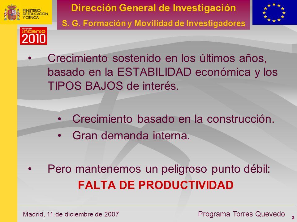 3 Dirección General de Investigación S. G. Formación y Movilidad de Investigadores Programa Torres Quevedo Madrid, 11 de diciembre de 2007 Crecimiento