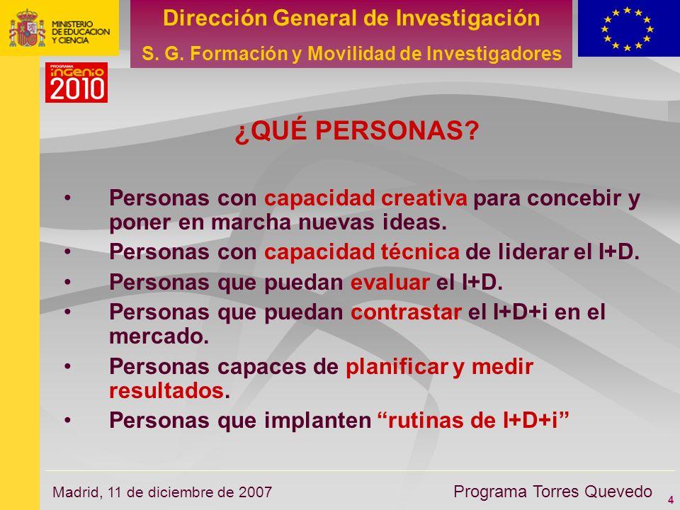 4 Dirección General de Investigación S. G. Formación y Movilidad de Investigadores Programa Torres Quevedo Madrid, 11 de diciembre de 2007 ¿QUÉ PERSON