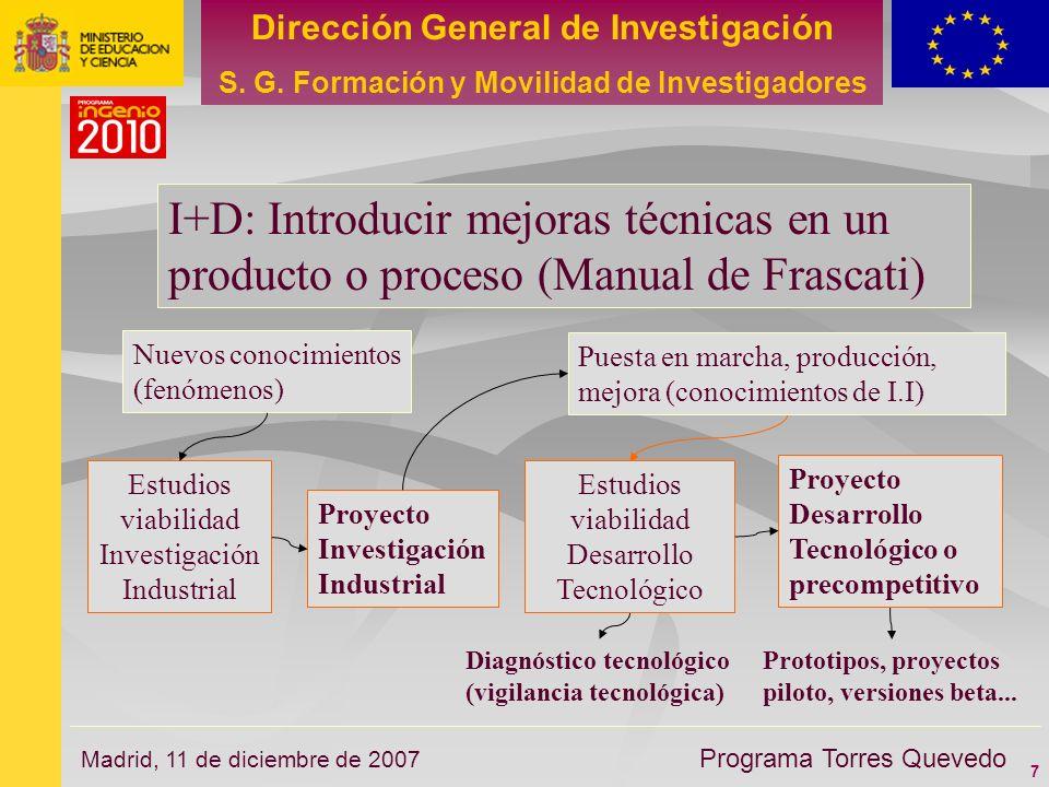 7 Dirección General de Investigación S. G. Formación y Movilidad de Investigadores Programa Torres Quevedo Madrid, 11 de diciembre de 2007 I+D: Introd