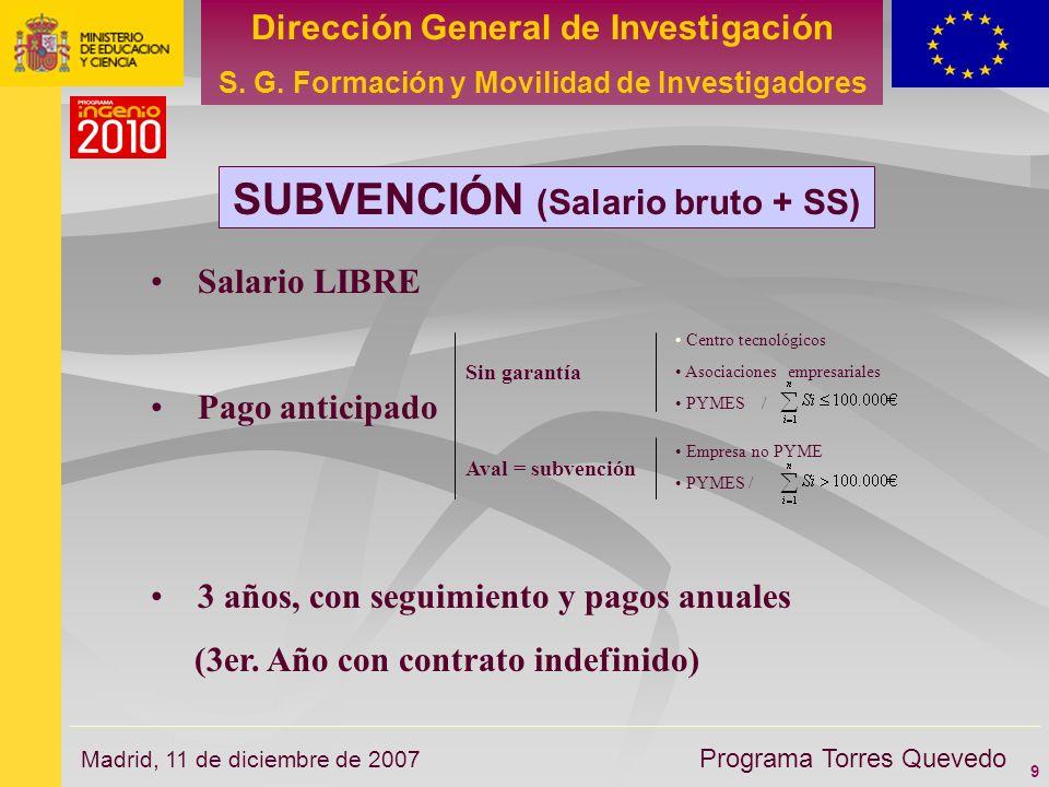 9 Dirección General de Investigación S. G. Formación y Movilidad de Investigadores Programa Torres Quevedo Madrid, 11 de diciembre de 2007 SUBVENCIÓN