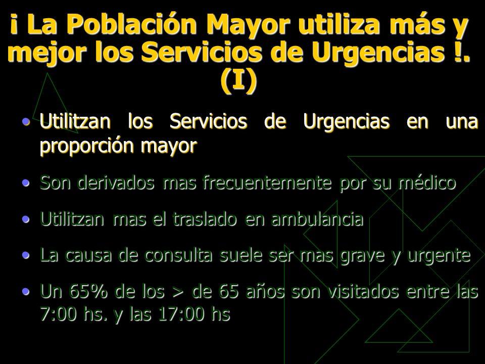 ¡ La Población Mayor utiliza más y mejor los Servicios de Urgencias !. (I) Utilitzan los Servicios de Urgencias en una proporción mayorUtilitzan los S