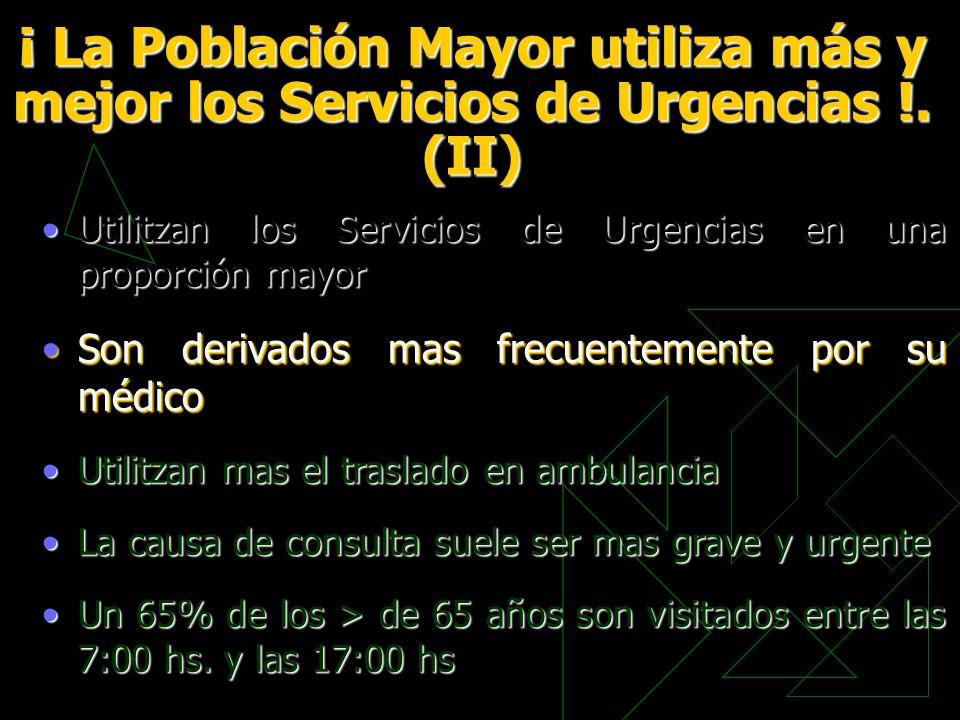 ¡ La Población Mayor utiliza más y mejor los Servicios de Urgencias !. (II) Utilitzan los Servicios de Urgencias en una proporción mayorUtilitzan los