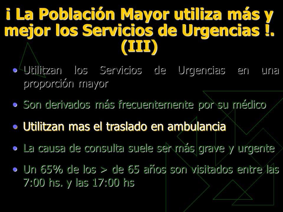¡ La Población Mayor utiliza más y mejor los Servicios de Urgencias !. (III) Utilitzan los Servicios de Urgencias en una proporción mayorUtilitzan los