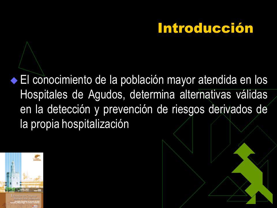 Introducción El conocimiento de la población mayor atendida en los Hospitales de Agudos, determina alternativas válidas en la detección y prevención d