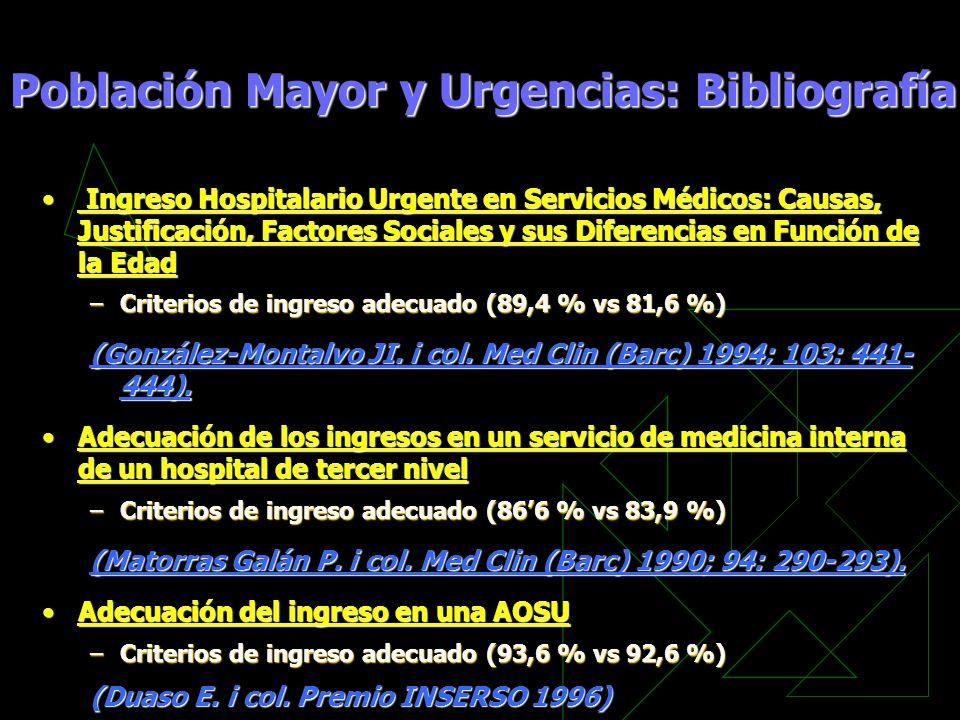 Ingreso Hospitalario Urgente en Servicios Médicos: Causas, Justificación, Factores Sociales y sus Diferencias en Función de la Edad Ingreso Hospitalar