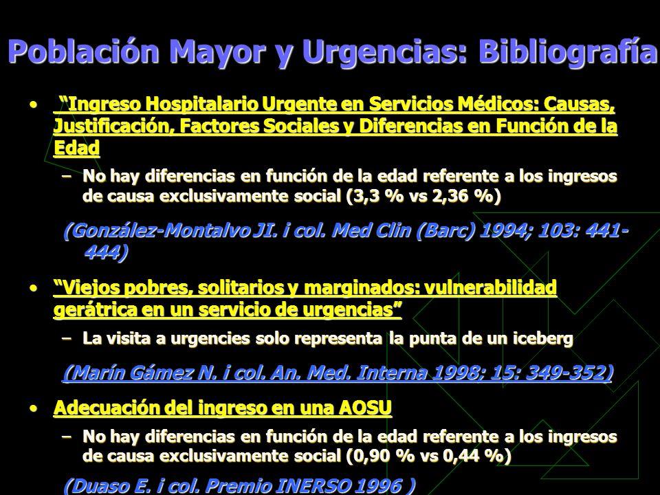 Ingreso Hospitalario Urgente en Servicios Médicos: Causas, Justificación, Factores Sociales y Diferencias en Función de la Edad Ingreso Hospitalario U