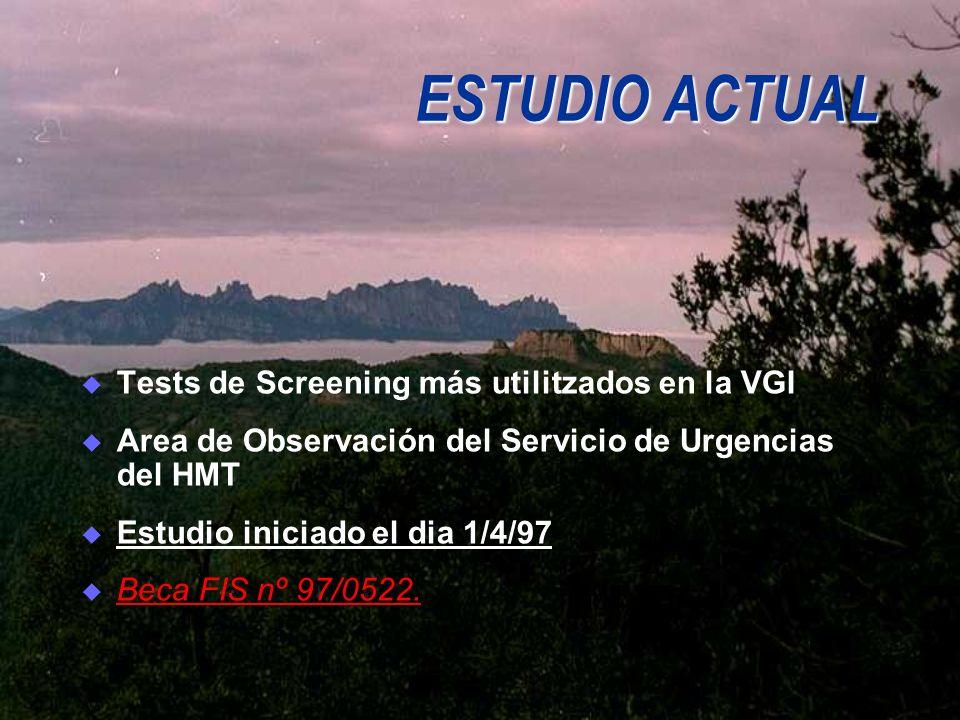 ESTUDIO ACTUAL Tests de Screening más utilitzados en la VGI Area de Observación del Servicio de Urgencias del HMT Estudio iniciado el dia 1/4/97 Beca