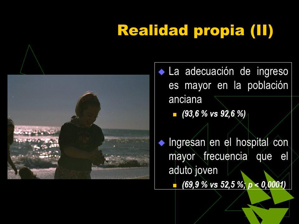Realidad propia (II) La adecuación de ingreso es mayor en la población anciana (93,6 % vs 92,6 %) Ingresan en el hospital con mayor frecuencia que el