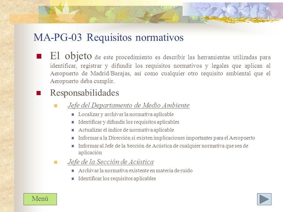 MA-PG-03 Requisitos normativos El objeto de este procedimiento es describir las herramientas utilizadas para identificar, registrar y difundir los req