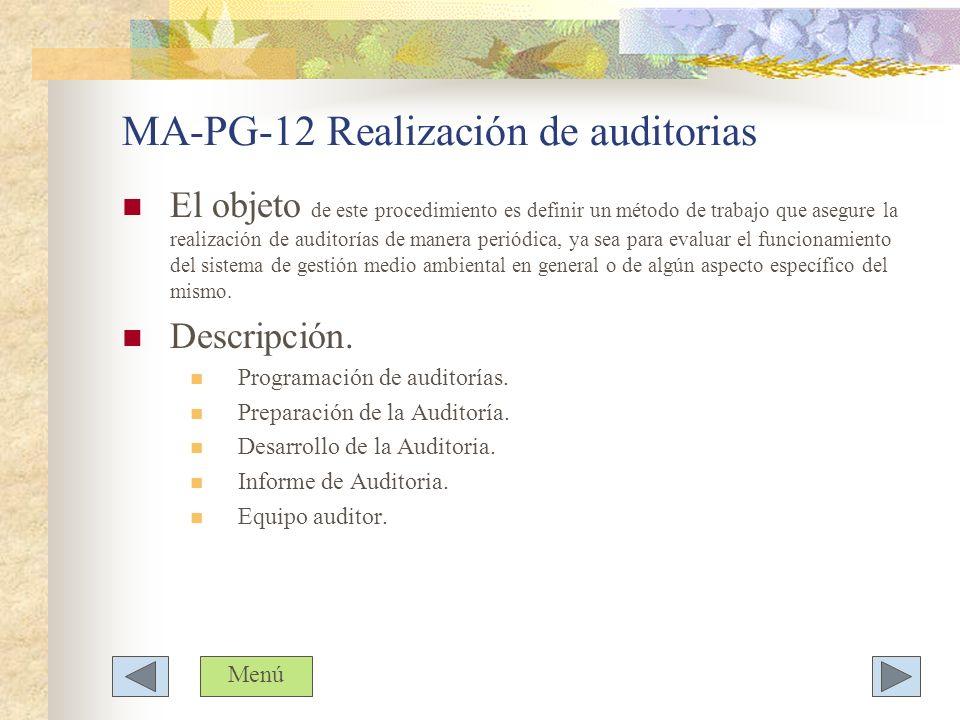MA-PG-12 Realización de auditorias El objeto de este procedimiento es definir un método de trabajo que asegure la realización de auditorías de manera