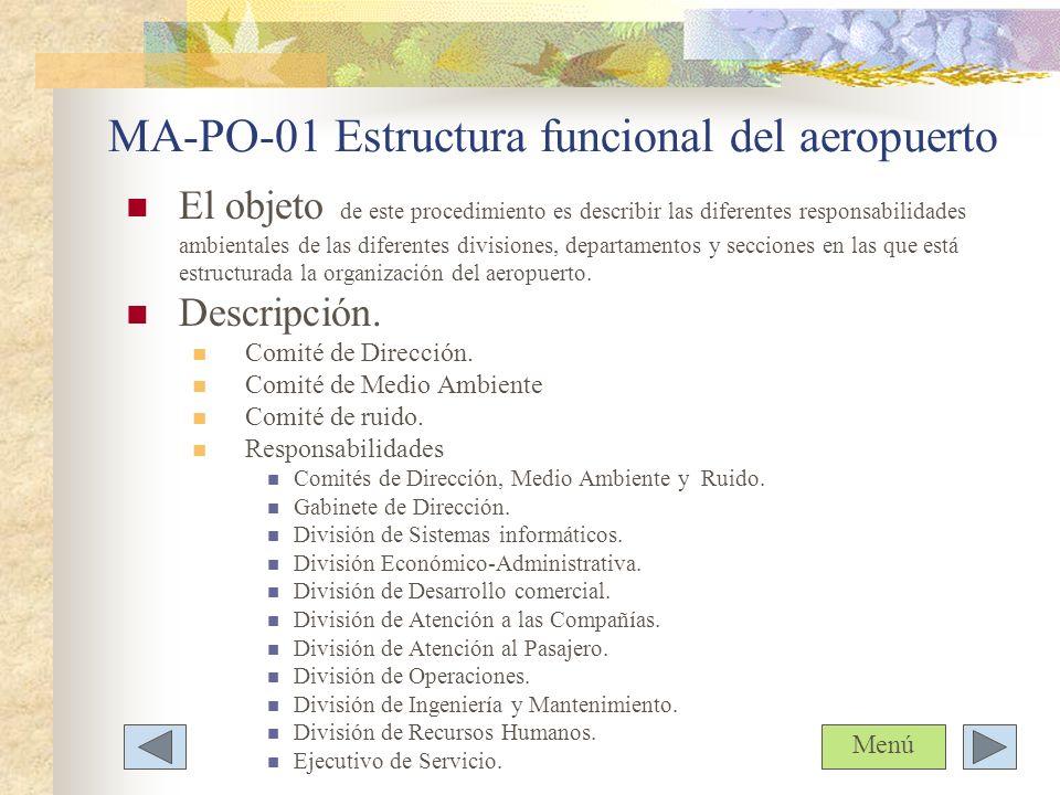 MA-PO-01 Estructura funcional del aeropuerto El objeto de este procedimiento es describir las diferentes responsabilidades ambientales de las diferent