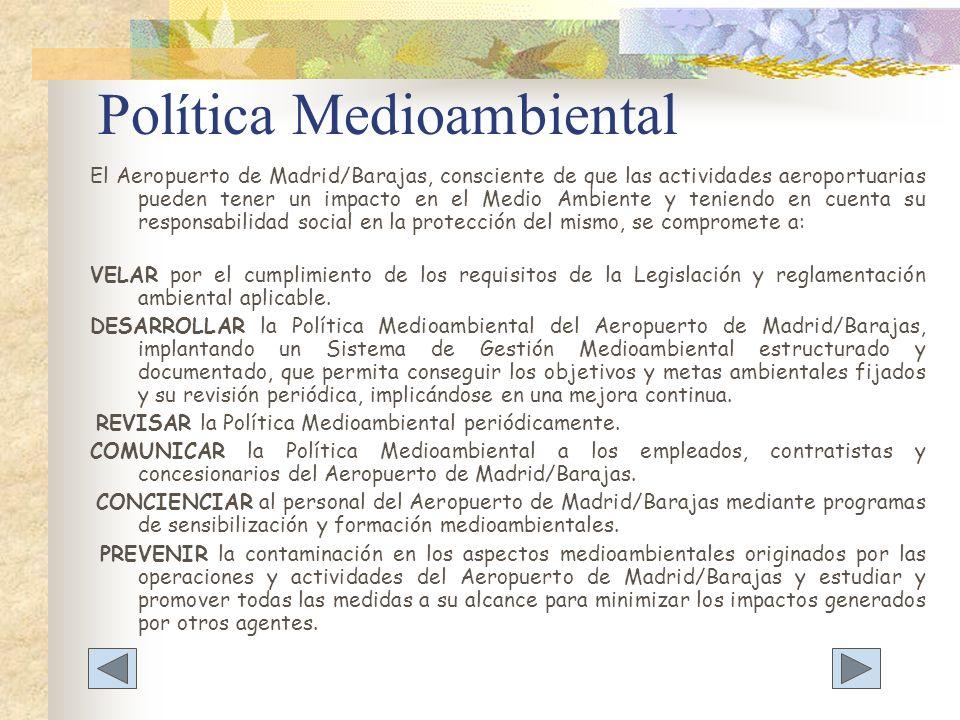Política Medioambiental El Aeropuerto de Madrid/Barajas, consciente de que las actividades aeroportuarias pueden tener un impacto en el Medio Ambiente
