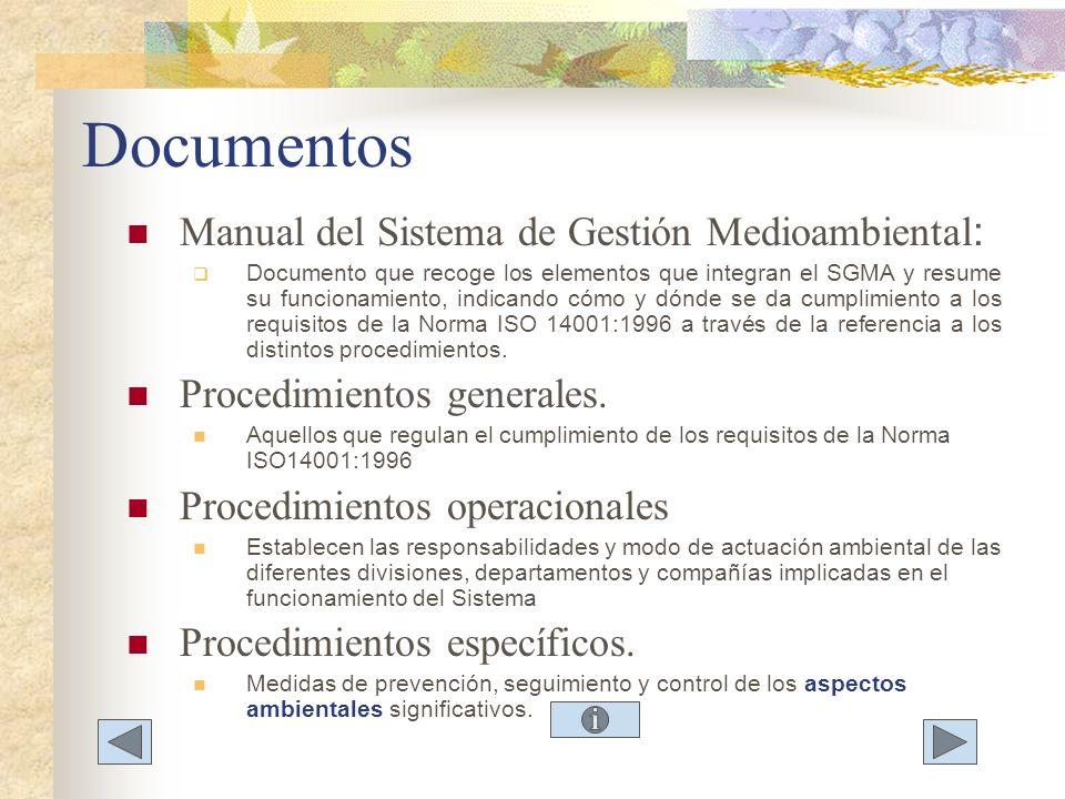 Documentos Manual del Sistema de Gestión Medioambiental : Documento que recoge los elementos que integran el SGMA y resume su funcionamiento, indicand
