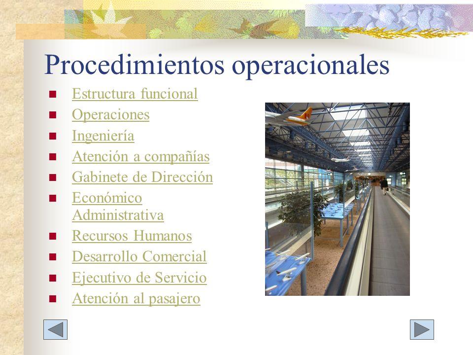 Procedimientos operacionales Estructura funcional Operaciones Ingeniería Atención a compañías Gabinete de Dirección Económico Administrativa Económico