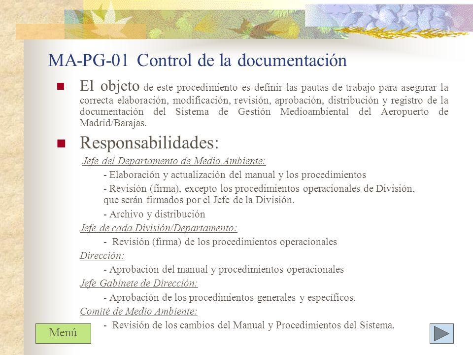 MA-PG-01 Control de la documentación El objeto de este procedimiento es definir las pautas de trabajo para asegurar la correcta elaboración, modificac