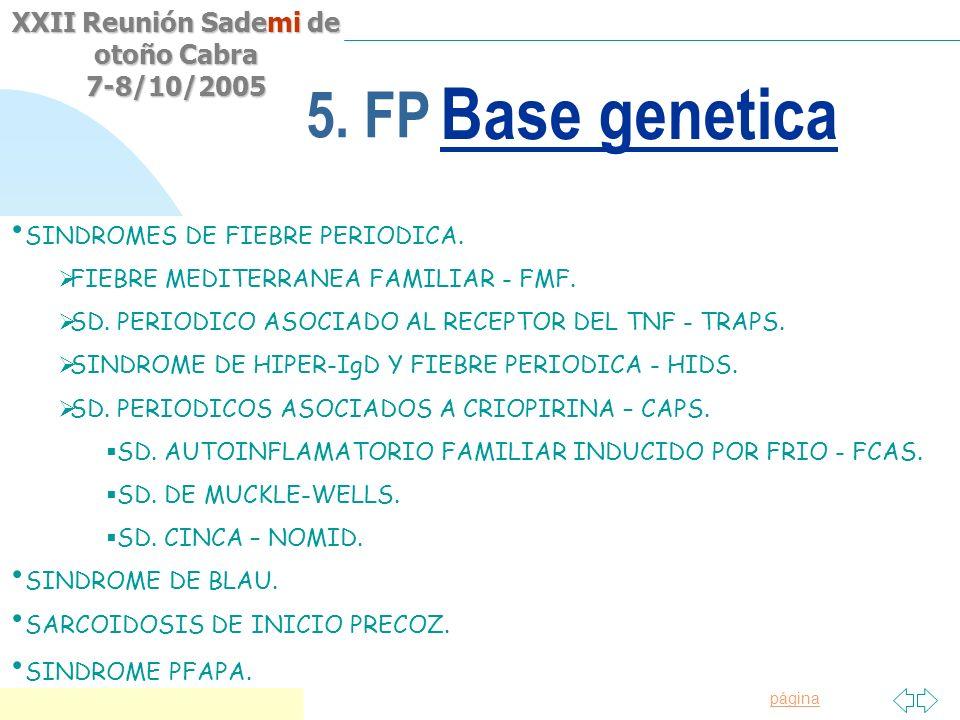 Saltar a la primera página XXII Reunión Sademi de otoño Cabra 7-8/10/2005 5. FP Origen Hereditario a.Fiebre mediterránea familiar b.Síndrome Hiper-IgD
