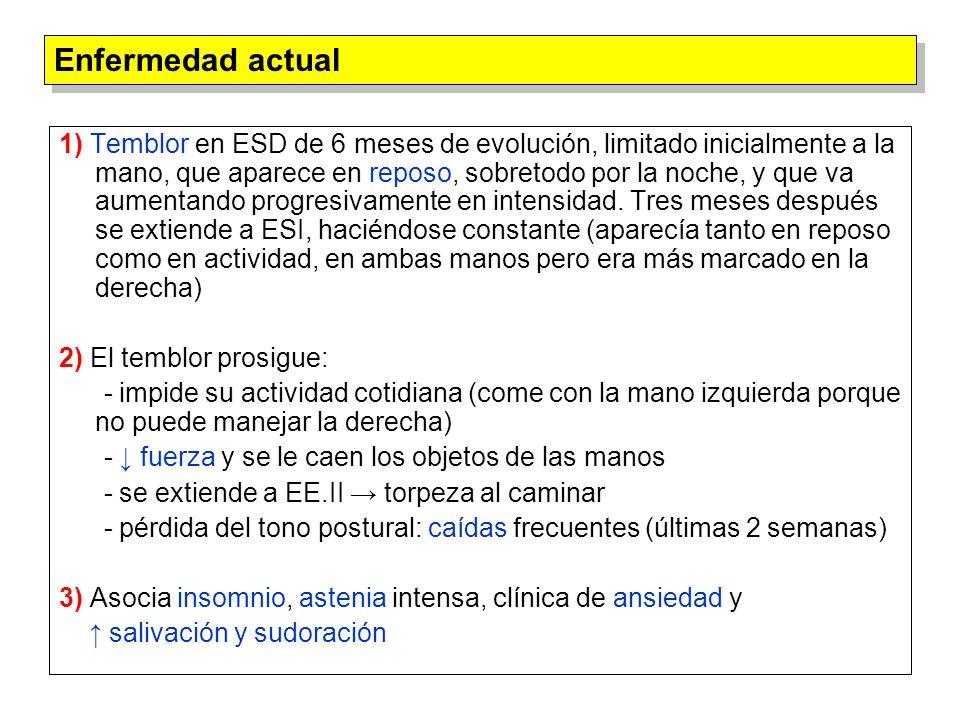 1) Ecografía doppler abdominal: colelitiasis 2) Bioquímica especial (sangre): - Ceruloplasmina: 7.6 mg/dl (20.0-55.0) - Cobre: 54 μg/dl (68-143) 3) Bioquímica orina: - Cu 2+ : 267.0 μg/L (< 40) - Cupruria: 641 μg/L (68-43) (24 horas) Estudios complementarios (II)
