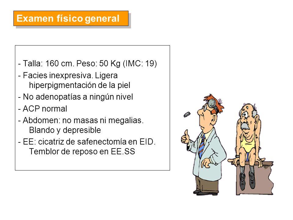 - Dermatológicas: hiperpigmentación, lúnula azulada de las uñas y acantosis nigricans - Cardiacas: insuficiencia cardiaca congestiva, arritmias, hipotensión ortostática, fibrosis miocárdica, miocarditis - Endocrinológicas: pancreatitis, ginecomastia, amenorrea primaria o secundaria (presentación más común en mujeres), anormalidades menstruales (oligoamenorrea), intolerancia a la glucosa o insuficiencia paratiroidea 4.- Otras manifestaciones clínicas (II)
