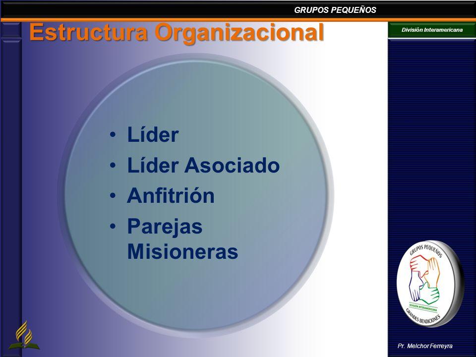 GRUPOS PEQUEÑOS División Interamericana Pr. Melchor Ferreyra Estructura Organizacional Líder Líder Asociado Anfitrión Parejas Misioneras