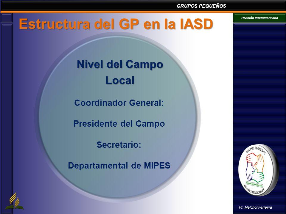 GRUPOS PEQUEÑOS División Interamericana Pr. Melchor Ferreyra Estructura del GP en la IASD Coordinador General: Presidente del Campo Secretario: Depart