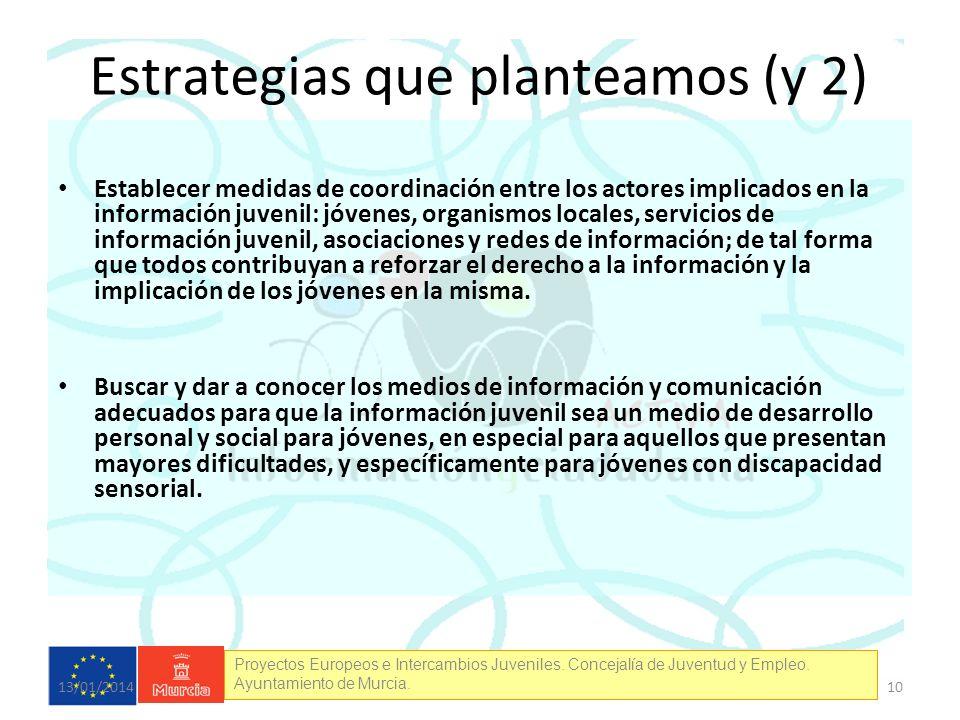 Proyectos Europeos e Intercambios Juveniles. Concejalía de Juventud y Empleo. Ayuntamiento de Murcia. Estrategias que planteamos (y 2) Establecer medi