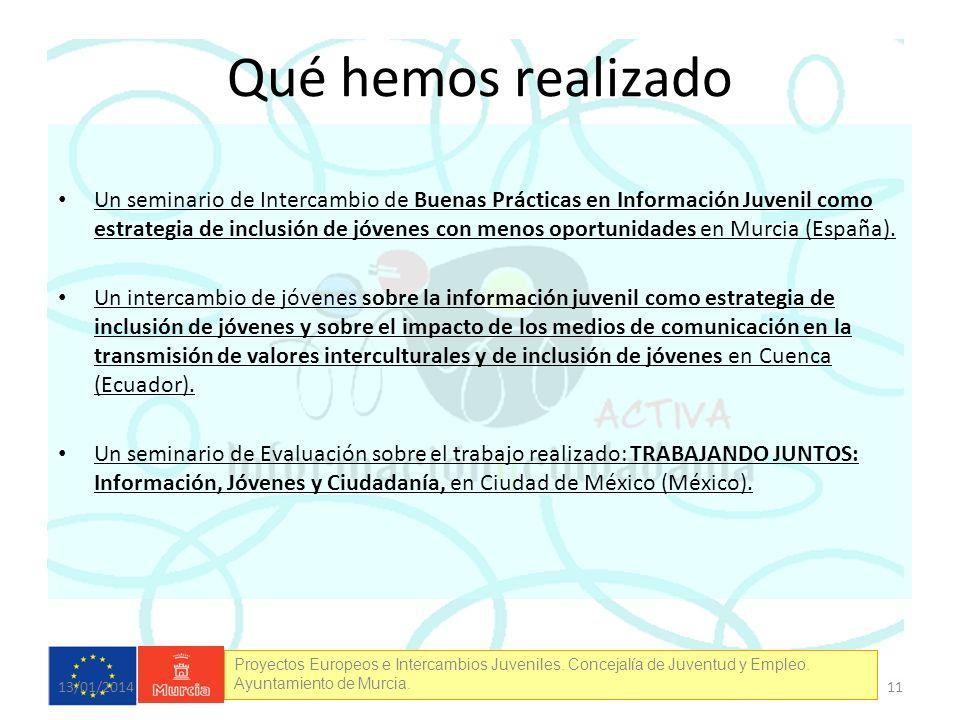 Proyectos Europeos e Intercambios Juveniles. Concejalía de Juventud y Empleo. Ayuntamiento de Murcia. Qué hemos realizado Un seminario de Intercambio