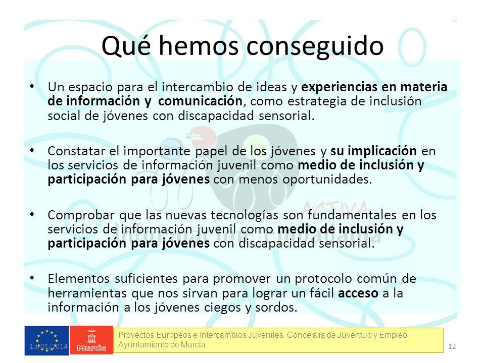 Proyectos Europeos e Intercambios Juveniles. Concejalía de Juventud y Empleo. Ayuntamiento de Murcia. Qué hemos conseguido Un espacio para el intercam