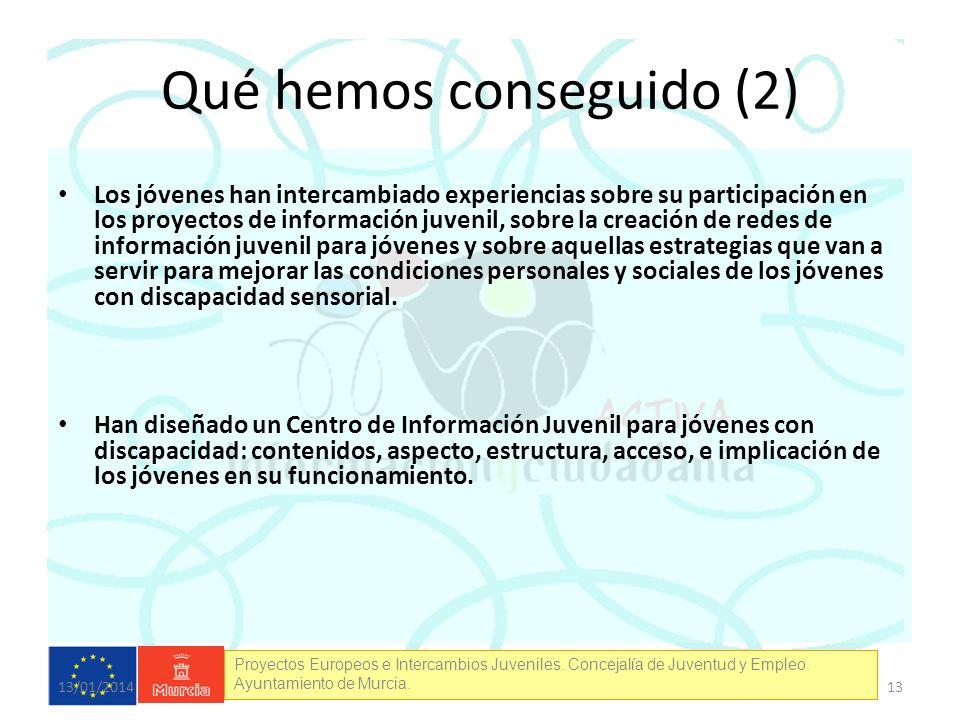 Proyectos Europeos e Intercambios Juveniles. Concejalía de Juventud y Empleo. Ayuntamiento de Murcia. Qué hemos conseguido (2) Los jóvenes han interca