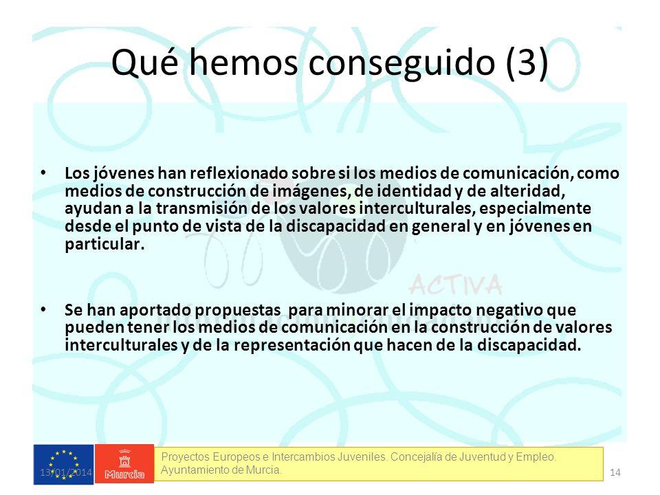 Proyectos Europeos e Intercambios Juveniles. Concejalía de Juventud y Empleo. Ayuntamiento de Murcia. Qué hemos conseguido (3) Los jóvenes han reflexi