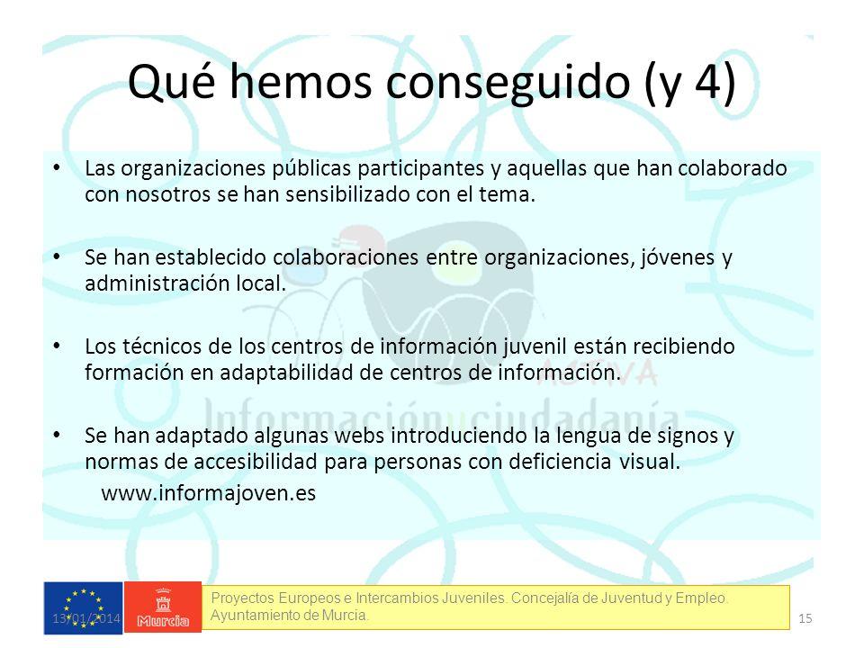 Proyectos Europeos e Intercambios Juveniles. Concejalía de Juventud y Empleo. Ayuntamiento de Murcia. Qué hemos conseguido (y 4) Las organizaciones pú