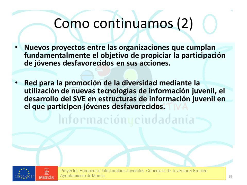 Proyectos Europeos e Intercambios Juveniles. Concejalía de Juventud y Empleo. Ayuntamiento de Murcia. Como continuamos (2) Nuevos proyectos entre las