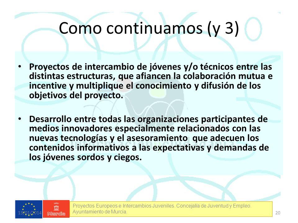 Proyectos Europeos e Intercambios Juveniles. Concejalía de Juventud y Empleo. Ayuntamiento de Murcia. Como continuamos (y 3) Proyectos de intercambio
